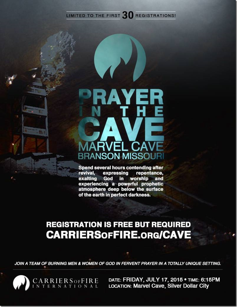 Prayer in the Cave Branson Event Flyer